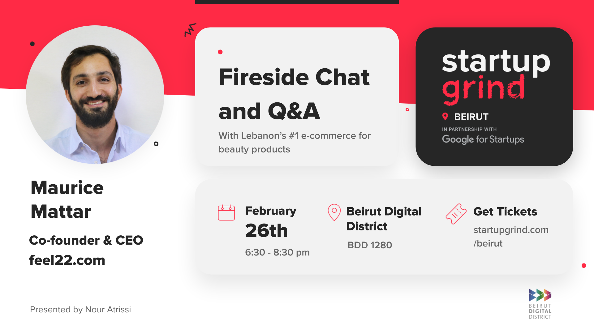 Startup Grind Beirut hosts Maurice Mattar (co-founder & CEO of feel22.com)