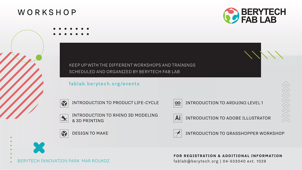 Berytech Fab Lab Workshops – Jan-Feb 2020